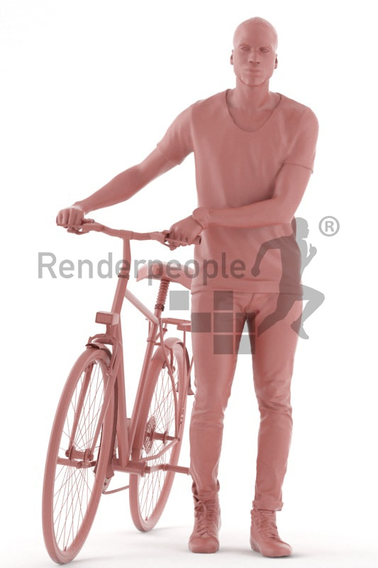 3d people casual, black 3d man walking with his bike