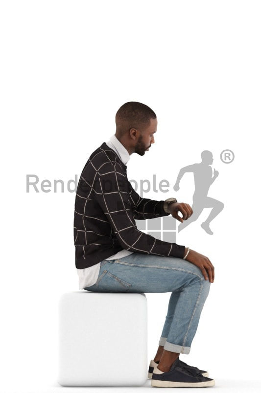 3d people casual, black 3d man sitting and looking at his watch