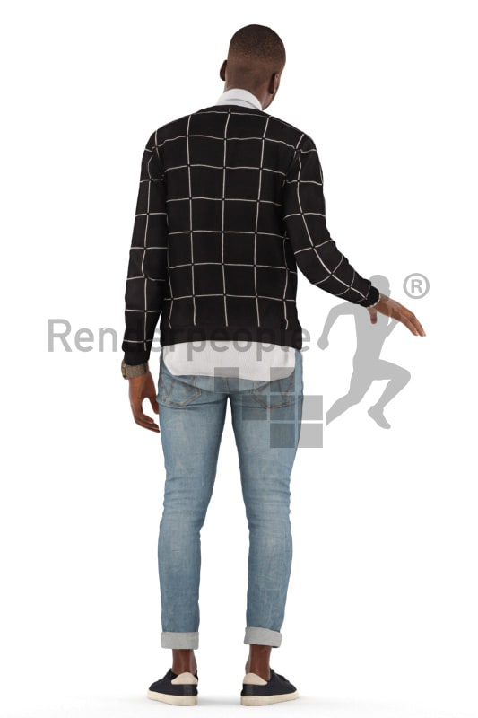 3d people casual, black 3d man standing and grabbing the handrail