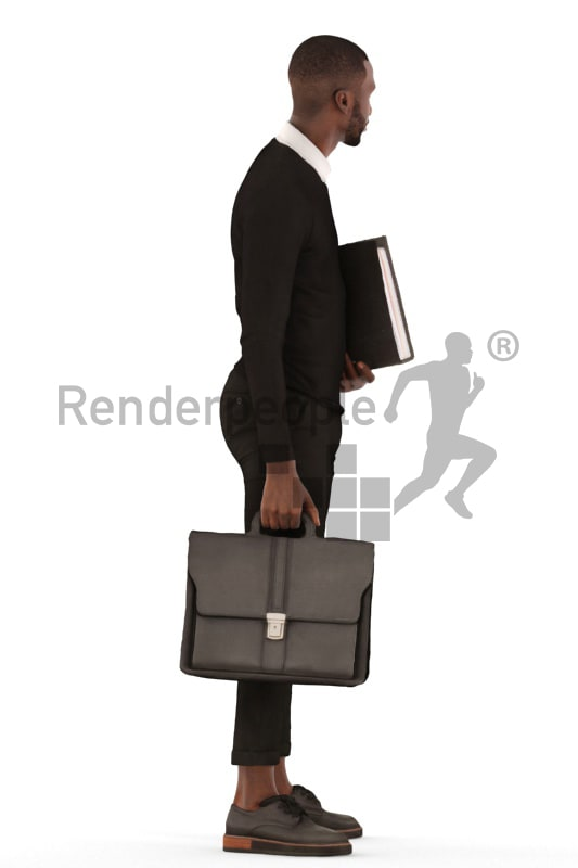3d people business, black 3d man standing with a suitcase and folder
