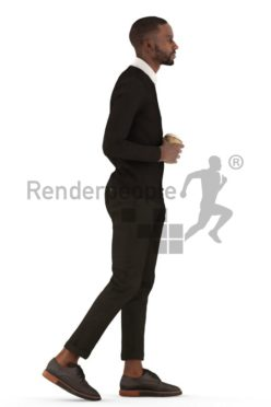 3d people business, black 3d man walking with a coffee