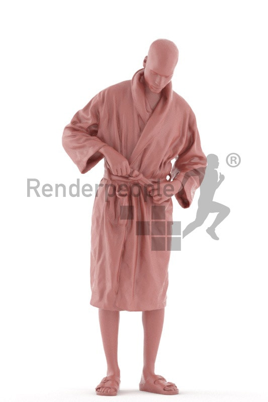 3d people spa, black 3d man putting on his bathrobe