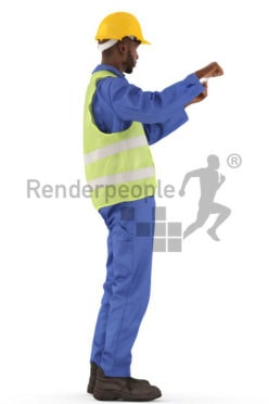 3d people worker, black 3d man standing and measuring