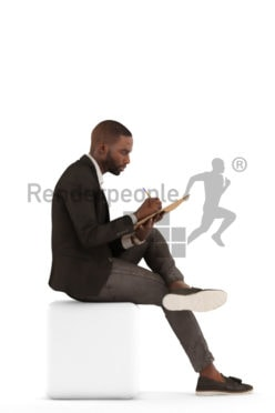 3d people business, black 3d man sitting and writing on his clipboard