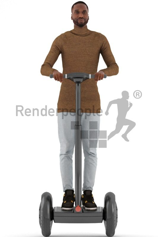 3d people casual, black 3d man driving a segway