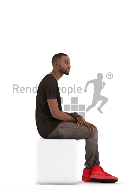 3d people casual, black 3d man sitting and waiting