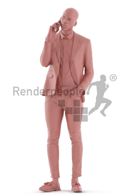 3d people business, black 3d man standing and calling