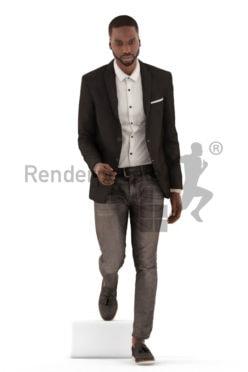 3d people business, black 3d man walking downstair