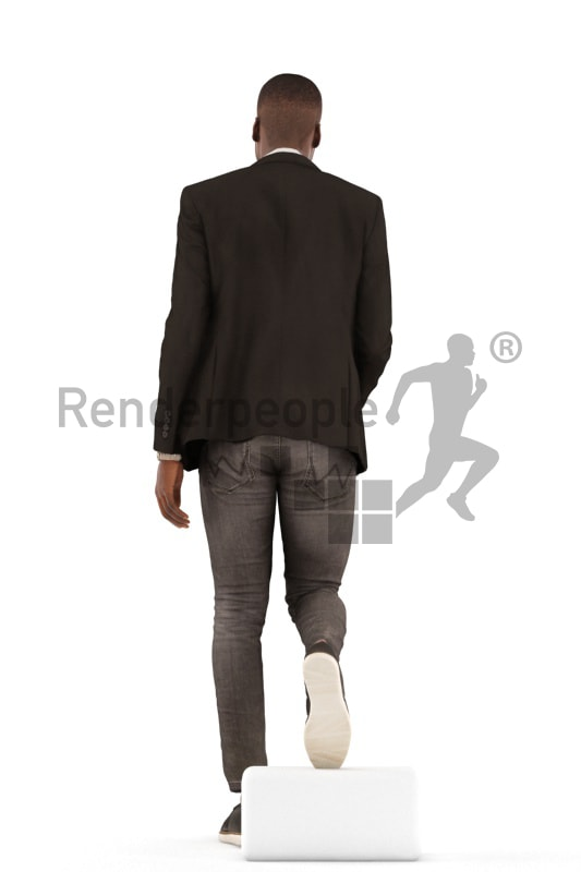 3d people business, black 3d man walking downstair