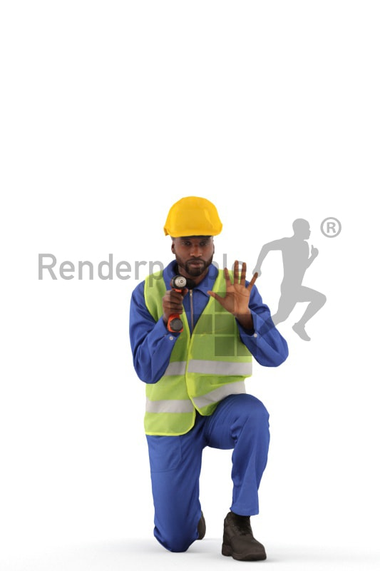 3d people worker, black 3d man kneeling and drilling a hole