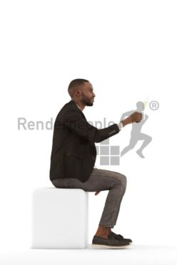 3d people business, black 3d man sitting and drinking