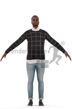 3d people casual, rigged black man in A Pose