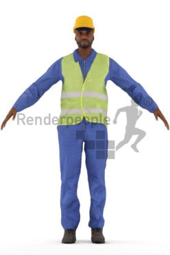 3d people worker, rigged black man in A Pose