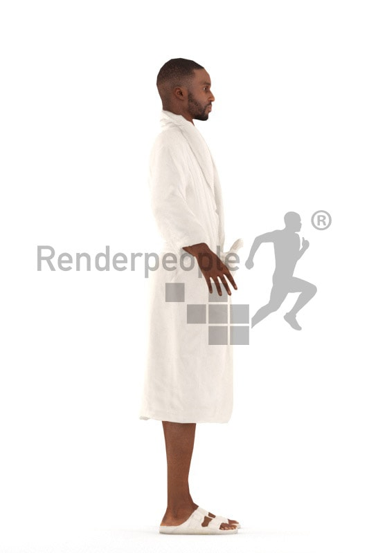 3d people spa, rigged black man in A Pose