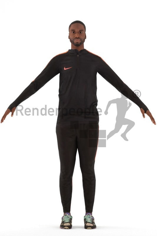 3d people sports, rigged man in A Pose
