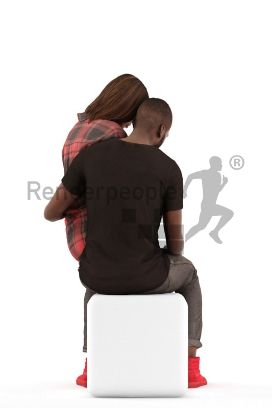 3d people casual, 3d couple sitting lokig at the phone