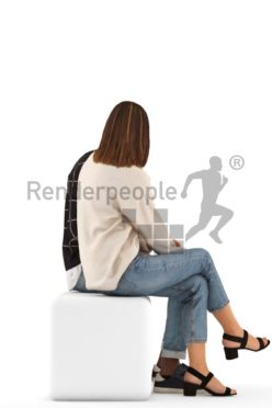 3d people casual, 3d couple sitting discussing
