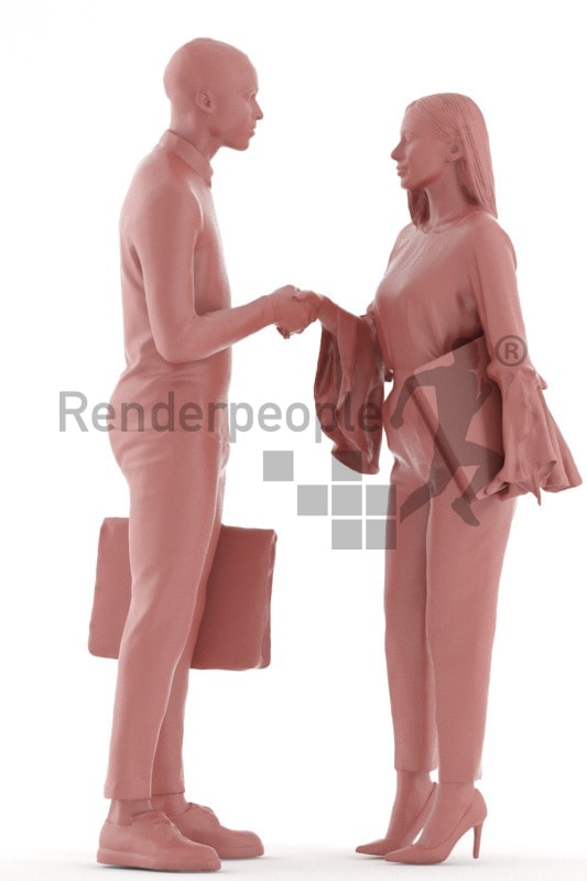 3d people business, 3d couple standing and shaking hands