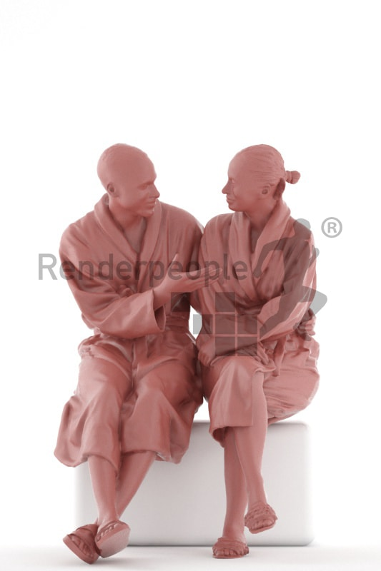 3d people spa, 3d couple sitting and talking