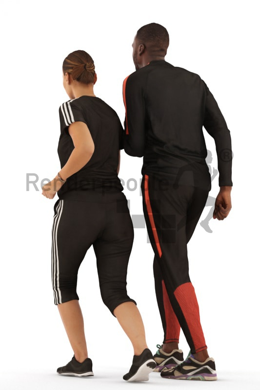 3d people sports, 3d couple running together