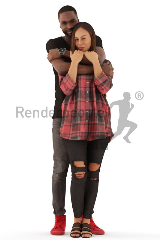 3d people casual, 3d couple standing and cuddling