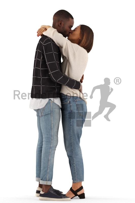3d people casual, 3d couple standing and kissing