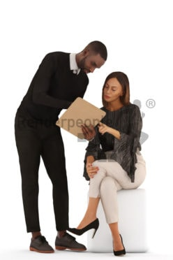 3d people business, 3d couple standing and sitting and showing something on a clipboard