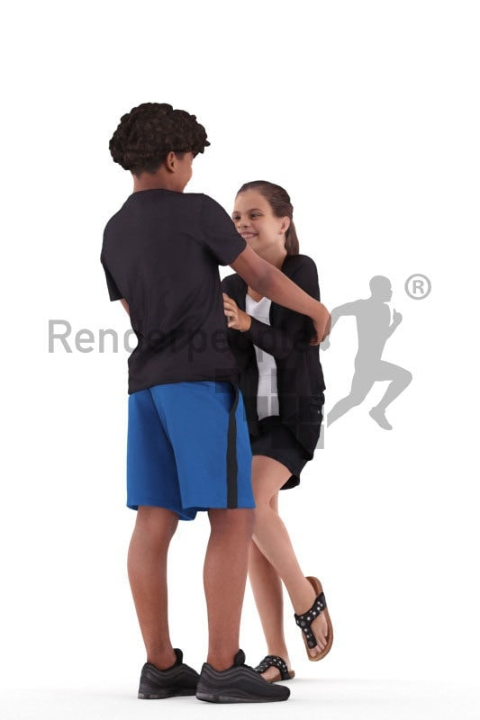 Posed 3D People model for visualization – two teenagers, playing around in daily summer clothes