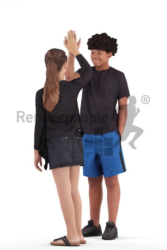 3D People model for 3ds Max and Cinema 4D – black boy and white girl interacting