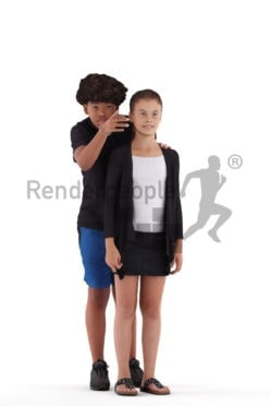 Posed 3D People model by Renderpeople – boy showing a girl something, casual summer look