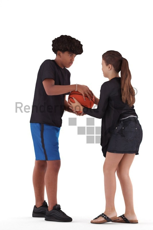 Posed 3D People model by Renderpeople – two kids/teenager playing ball