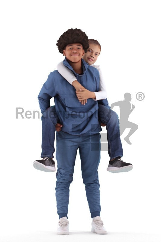 3D People model for 3ds Max and Cinema 4D – black boy taking a european girl piggyback