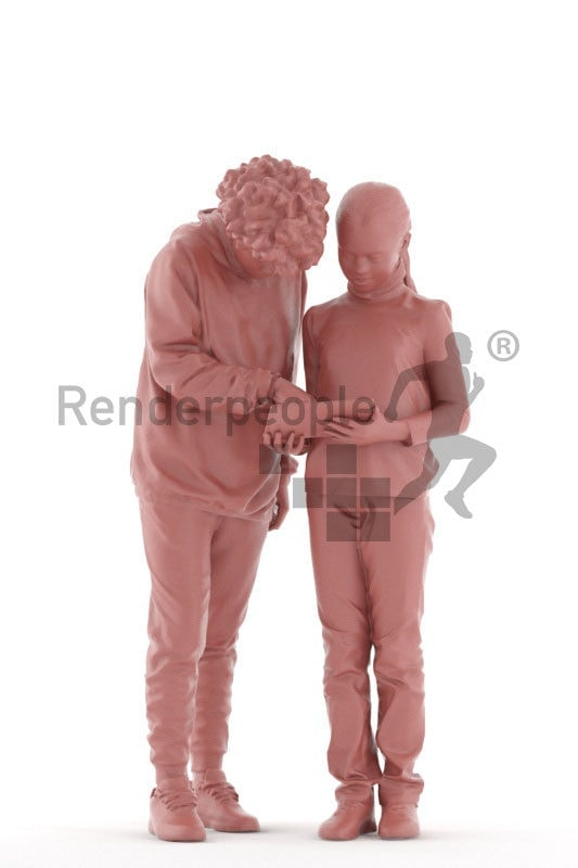 Scanned 3D People model for visualization – black and european teenager, standingwith bowls