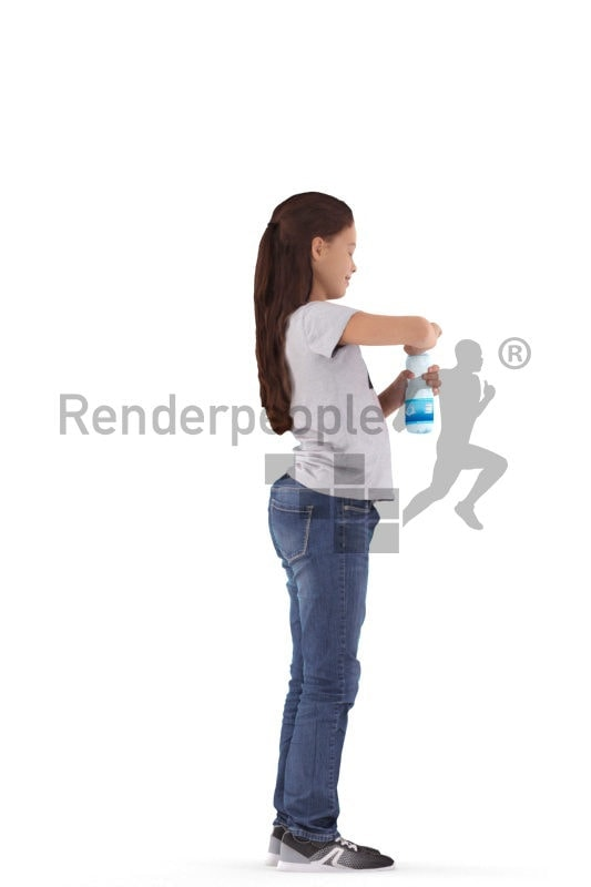 3d people casual, white 3d girl opening water bottle