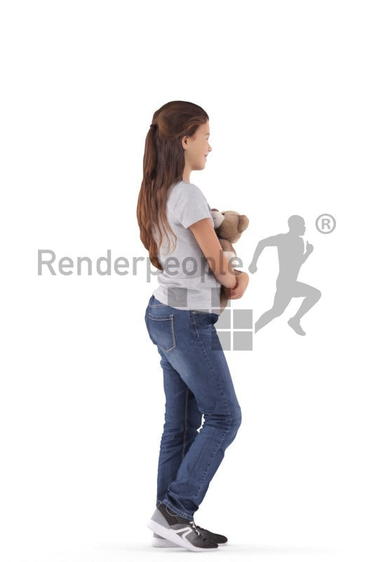 3d people casual, white 3d girl standing and holding teddy bear