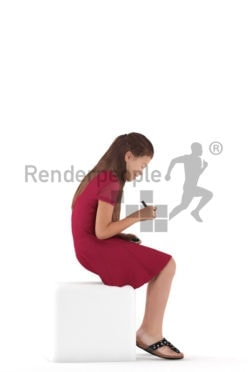 3d people casual, white 3d girl sitting and writing