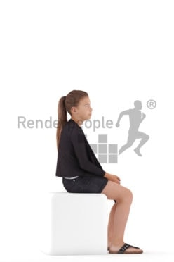 3d people casual, white 3d girl sitting and listening