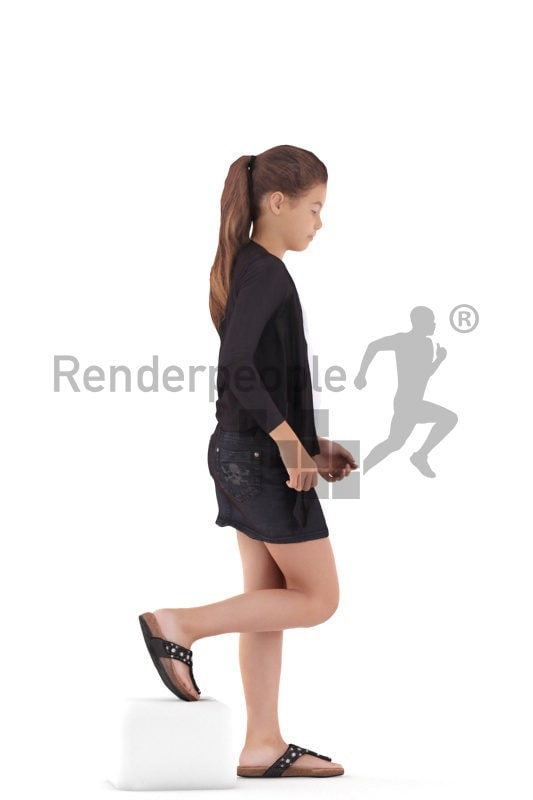 3d people casual, white 3d girl walking and climbing stairs