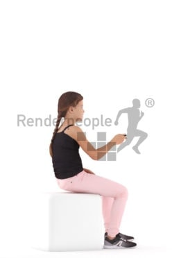 3d people casual, white 3d girl sitting and watching tv