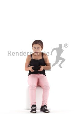 3d people casual, white 3d girl sitting and playing video games