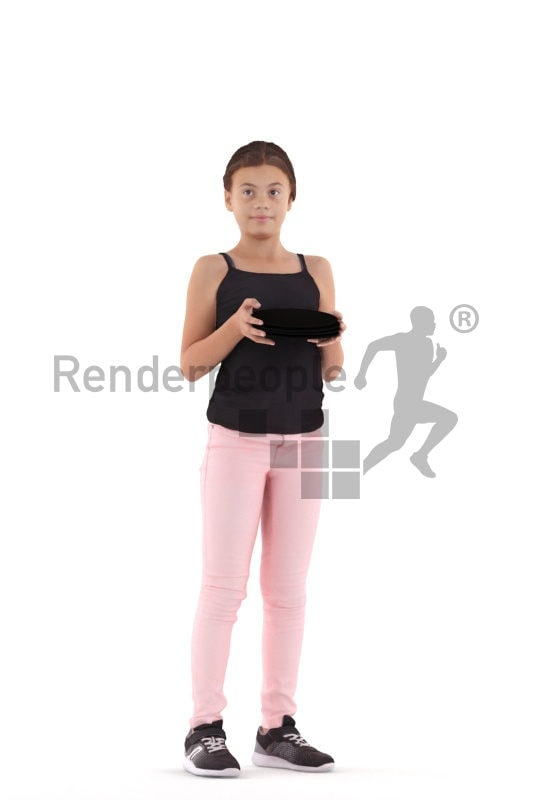 3d people casual, white 3d girl standing and serving plates