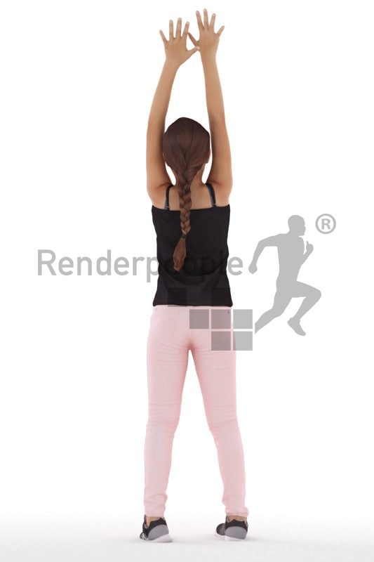3d people casual, white 3d girl standing
