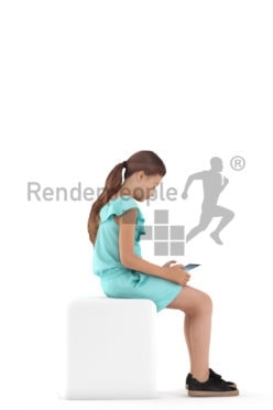3d people casual, white 3d girl sitting and holding tablet