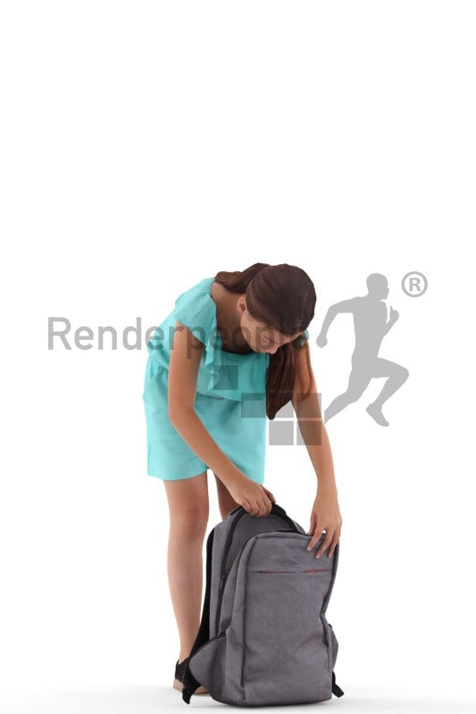 3d people casual, white 3d girl standing and searching her backpack
