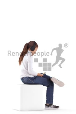 3d people casual, white 3d girl sitting and listening to music