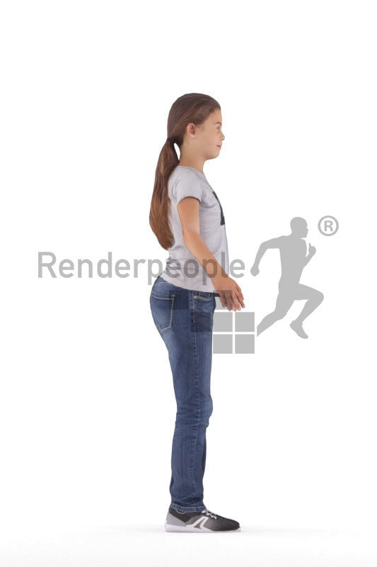 Rigged 3D People model for Maya and Cinema 4D – european girl in daily clothing
