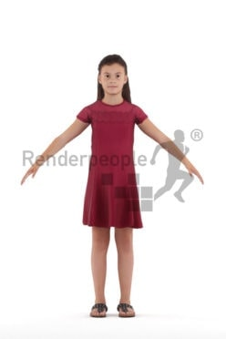 Rigged 3D People model for Maya and Cinema 4D – white kid in a dress