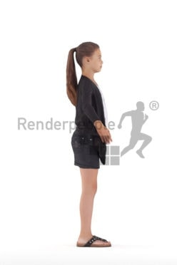 Rigged 3D People model for Maya and Cinema 4D – girl with ponytail, casual