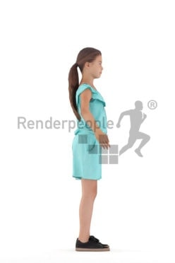 Rigged human 3D model by Renderpeople – european girl in blue jumpsuite