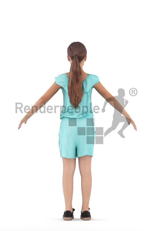 Rigged human 3D model by Renderpeople – european girl in blue jumpsuite